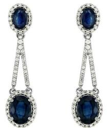 Large 4.92ct Diamond And Aaa Sapphire 14k White Gold Oval And Round Hanging Earrings