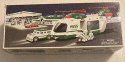 2001 Hess Toy Truck Helicopter With Motorcycle And Cruiser Lights And Sounds New