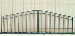 Custom Built Steel - Iron Driveway Entry Gate 16 Ft Wide Dual Swing. Residential
