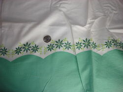 Vintage Feedsack Feed Sack Fabric Shades Of Green Floral And Border Pillowcase