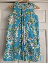 Lilly Pulitzer Originals Girls Sz 14 Shift Dress Ruffle Front Jungle Glam Print