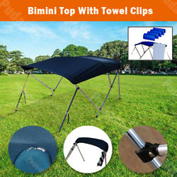 3 Bow Boat Bimini Top 6ft Canopy Cover 61and039and039-66and039and039 Free Clips Support Poles Bb3n1