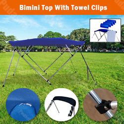 4 Bow Boat Bimini Top Canopy Cover 8 Ft Free Clips 79and039and039-84and039and039 Support Poles Bb4n1
