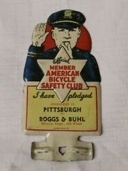 1940s American Bicycle Safety Club License Plate Topper