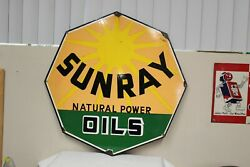 1940s Sunray Natural Power Oils Single Sided Porcelain Sign