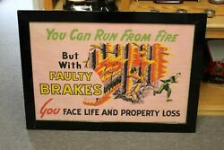 1940s Faulty Brakes Advertising Litho-paint Poster Co. Chicago Il