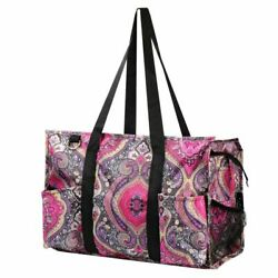 Utility All Purpose Shopping Travel Laundry Tote Bag Purple Paisley for Women $13.59