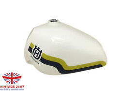 Husqvarna White Painted Yellow And Blue Line Aluminium Tank 1982-1983 fit For