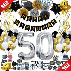 50th Birthday Decorations (123Pcs) Gold Birthday Party Supplies Gifts Kit for