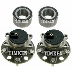 Front And Rear Wheel Bearings Hubs Kit Timken For Lancer Outlander Fwd 4-wheel Abs