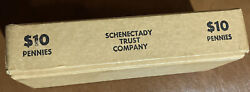 Vintage Coin Roll Cardboard Bank Box 10 Pennies Schenectady Trust Company