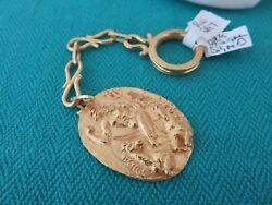 18k Solid Gold Signed Greek God Neptune And Horses Key Chain Rare Find
