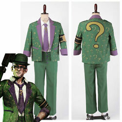Batmanarkham Dr.edward Nigma The Riddler Cosplay Question Mark Outfit Costume And