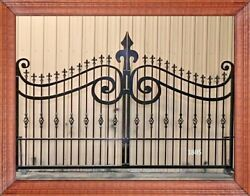 Wrought Iron Style Steel Driveway Entry Gate 11' Wd Home Residential Security