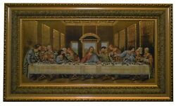 Large Woven Tapestry of Last Supper with Wooden Frame