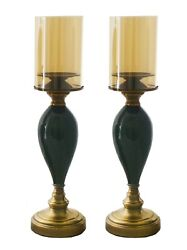 Pair Of Brass And Ceramic Candle Holders With Tinted Glass Shades