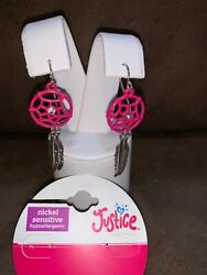 Justice Earrings Dream Catcher Pink Bling And Silvertone Feather Dangles Eurowire