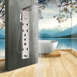Elloandallo Thermostatic Shower Panel Stainless Steel Spa Massage Jets W/handheld