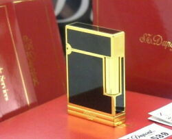 S.t.dupont Gatsby Gas Lighter Gold Underbelt Black Lacquer