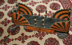 Early 1900s Large Folk Art Toy Wooden Original Circus Wagon Brightly Painted