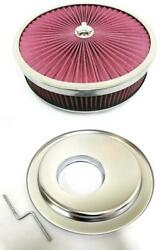 14 X 4 Flow Through Air Cleaner Kit W/ Washable Filter Offset Base And Wing Nut