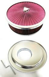 14 X 4 Flow Through Air Cleaner Kit W/ Washable Filter Offset Base Deluxe Nut