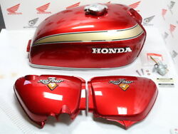 Honda Cb 750 Four K2 Paint Set Candy Ruby Red Tank+side Cover+attachment Parts