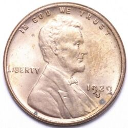 1929-s Lincoln Wheat Cent Penny Choice Bu Red Free Shipping E543 Rcb