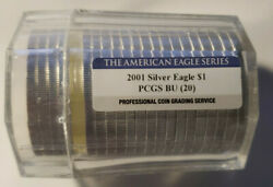 2001 American Silver Eagle Pcgs Certified Roll - 20 Troy Ounces - .999 Pure - Bu
