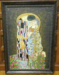 Tony The Kiss After Gustav Klimt Huge Oil On Canvas Reproduction Painting
