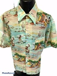 Nos 70's Vtg Native American Indian Chief Wild West Fight Tribal Hawaiian Shirt