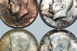 Lot Of Four, 1967 And 1968, Nicely Toned Kennedy Silver Half Dollars Num4691