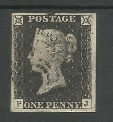 1840 PENNY  BLACK (PJ) PLATE 2  FINE USED 4 LARGE  MARGINS LOVELY STAMP