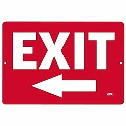 Warning Exit Left Arrow Metal Tin Sign Business Retail Store Home Large Bar Andamp