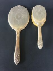 Art Deco Wallace Sterling Silver Hand Mirror And Brush