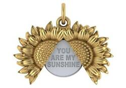 You Are My Sunshine Fashion Pendant 7.5 Grams 14k Two Tone Gold Made In Usa