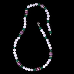 Carving Gemstone Beaded Necklace 925 Sterling Silver Diamond Jewelry