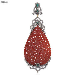 65.35ct Carved Agate Emerald Diamond 18k Gold 925 Silver Pendant Jewelry