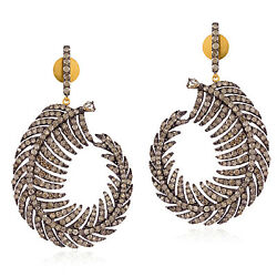 8.9ct Pave Diamond 18kt Gold Sterling Silver Leaf Style Dangle Earrings Jewelry