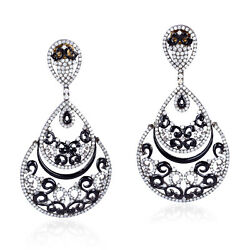 5.85ct Pave Diamond 18k Gold 925 Sterling Silver Dangle Earrings Antique Jewelry