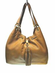 MICHAEL KORS Camden Brown Leather Drawstring Tote Bucket Handbag Tassel Accent $92.88