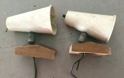Vintage 1970and039s Guest Boat Cabin Lights With Wood Base - Pair