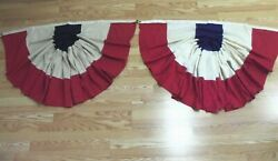 2 Old Vintage July 4th Bunting Pennants Parade Porch Patriotic Banners
