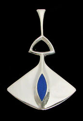 David Andersen Norway Sterling Silver And Lapis Modern Stylized 2 1/2 Pendant