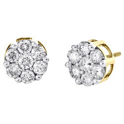14k Yellow Gold Round Diamond Flower Stud 10mm Prong Set Cluster Earrings 2.1 Ct
