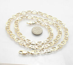 7.5mm Solid Mariner Anchor Chain Link Necklace Real 10k Yellow Gold