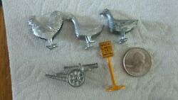 5 Antique Tootsie Toy Miniature Metal Toys,rooster,sign,cannon,ducks