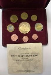 2002 United Kingdom Pattern Euro Coin Collection In Case Coa W/ Sleeve Led