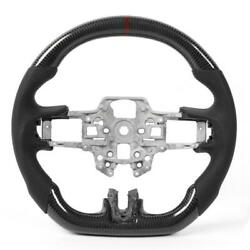Carbon Fiber Steering Wheel Preforated Leather W/ Stitching Fit For Ford Mustang