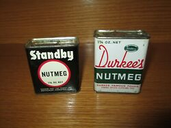 Lot Of 2 Vintage Nutmeg Spice Tin Standby And Durkee's
